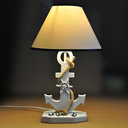 YU-K Pastorale mediterrane Cute Schlafzimmer Kind Harz Boot Anker Tischleuchte Nachttisch Lampe 42 * 25 cm, Druckschalter [Energieklasse A++]