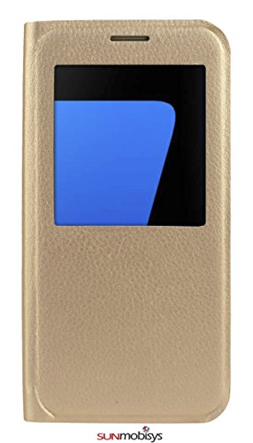 Sun Mobisys Samsung Galaxy S7 Flip Cover; Premium Faux Leather For Allround Protection Phone Case For Samsung Galaxy S7 Champagne Gold  available at amazon for Rs.149