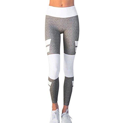 Damen Yoga Hose,Sonnena Frauen High Taille Sportgymnastik Yoga Running Fitness Leggings Hosen Athletic Hosen mit Polyester/Patchwork/Skinny/WAnkle-Länge/Hohe Taille/Knöchel-Länge/Weiß Stil (M, Grau)