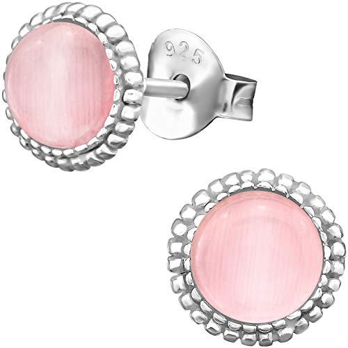EYS JEWELRY Damen-Ohrstecker rund 925 Sterling Silber Katzenauge rosa-pink 7 mm Damen-Ohrringe im Schmuck-Etui (Rosa Ohrstecker)