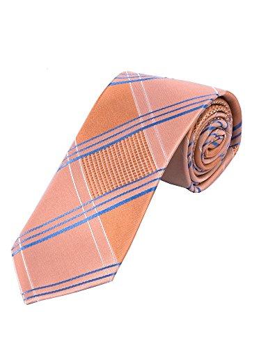 LORENZO GUERNI PREMIUM - italienisches Design - 100% Seide Karierte Krawatte im Englischen Stil blau/weiß/apricot (Seide Englisch-krawatte)