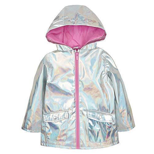The Pyjama Party Baby Girls Holographic Silver Jacket Showerproof Rain Coat Mac Baby Girls Teen