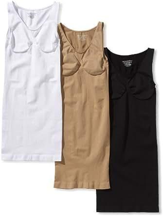Figur Body Damen Body 3-Er Pack, 06990 / Figur Body Unterkleid 3Er Set, Gr. M Schwarz/Weiß/Beige, Gr. 40/42 (M), Mehrfarbig (Schwarz/Weiß/Beige)