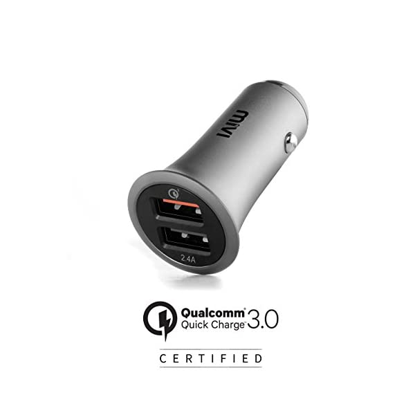 Mivi CC2QC3 Dual Port Car Charger – (Black)