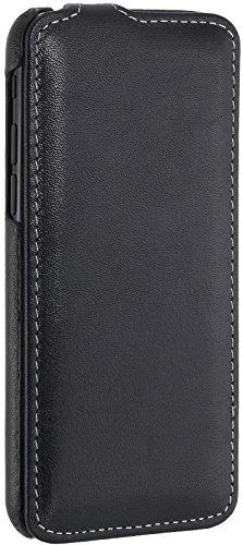 StilGut UltraSlim Case Hülle Leder-Tasche für Apple iPhone 8 Plus. Dünnes Flip-Case vertikal klappbar aus Echtleder für das Apple iPhone 8 Plus, Schwarz Schwarz Nappa