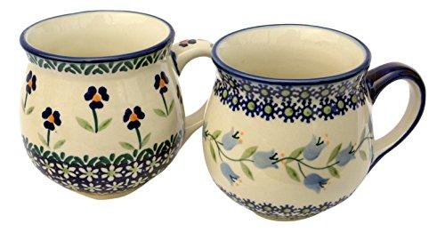 Hand-decorated Polish Pottery Manu Faktura Set K 090asdx Assx Ball Cup Pair–9.5cm, Cobalt Blue, 2units