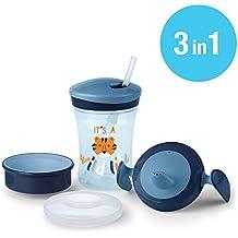 NUK 3-in-1 Trinklern-Set, mit Trainer Cup Trinkbecher Baby, Magic Cup 360° Trinklernbecher und Action Cup Trinklernflasche, 6+ Monate, 230ml, BPA-frei