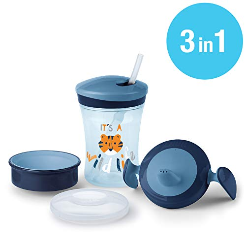 NUK 3-in-1 Trinklern-Set, mit Trainer Cup Trinkbecher Baby, Magic Cup 360° Trinklernbecher und Action Cup Trinklernflasche, 6+ Monate, 230ml, BPA-frei, tiger (blau)