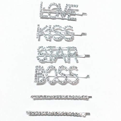 Strass Kiss (PPX 6 Stück Seitliche Haarklammern, minimalistisch, Strass, Haarnadeln, Legierung, Buchstaben-Metall mit Schmuckschatulle,LOVE,KISS,BOSS,STAR)