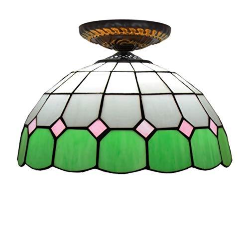 XYQS Tiffany Style Retro European Semi Flush Deckenleuchte Grüne Farbe Glas Handgefertigter Lampenschirm 12 Zoll Geeignet für Wohnzimmer Schlafzimmer Restaurant Bar Gang Korridor Coffee Shop
