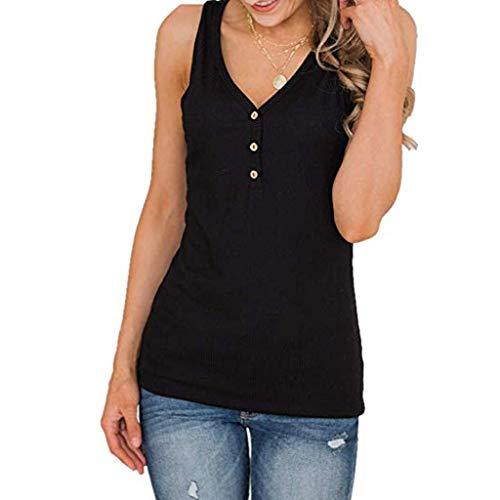 Evansamp 2019 Hot Fashion Damen Tops, Damen Sleeveless V-Ausschnitt Tasten T Weste Sommer Lässige Plain Shirts(Schwarz,M) -