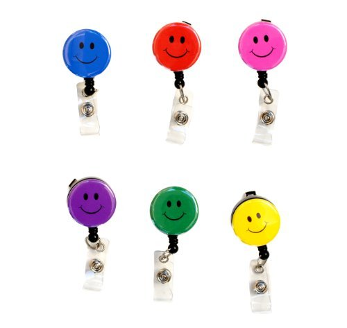 Happy Face/ Smiley Face1.25 Retractable Badge Reel/ ID Badge Holder (Complete Set of 6) by Sizzle City