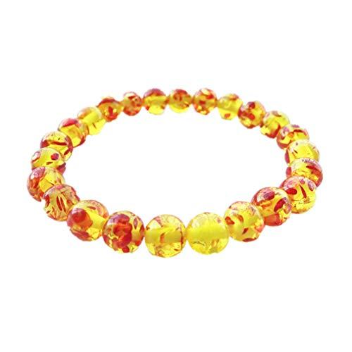 ODN Bernstein Kristall Transfer Perlen Armband Gelb Elastic Stretch Armband Für Geschenk -