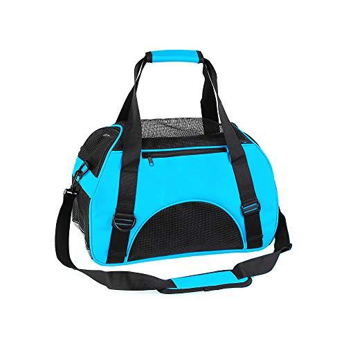ABISTAB Hundebox faltbar Transportbox Hunde und Katze Transporttasche für Auto- und Flugreisen geeignet Tragetasche bis 5kg mit Mesh-Netz,Länge 43cm Himmelblau