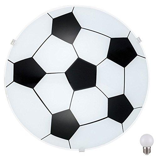 Fußball Decken Lampe Kinder Spiel Zimmer Glas Wand Leuchte satiniert im Set inkl. LED Leuchtmittel (Lampe Kinder Wand)