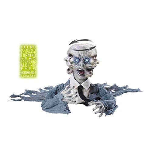 Figura de zombi con cabeza giratoria, sonido y ojos luminosos horror m
