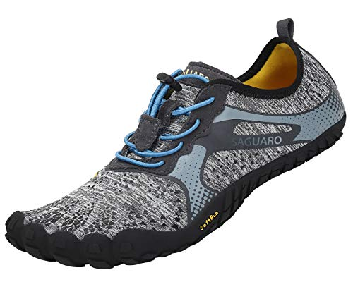 SAGUARO Chaussures de Trail Running Homme Femme Chaussures Minimalistes Chaussures de Sport Outdoor & Indoor Gym Fitness Randonnée Escalade Marche Barefoot Shoes Chaussures Aquatiques, Gris, 42 EU