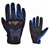 Motorrad Handschuh Herren Sommer Vollfinger Motorradhandschuhe Touchscreen Motorcross Motorrad Handschuhe Männer(Blue,M)