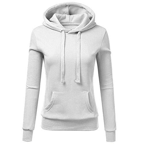 Tianwlio Damen Winter Langarmshirt Hoodie Pullover Mode Mode Lässig Hoodies Sweatshirt Tasche Damen mit Kapuze Bluse Pullove Weiß XXL