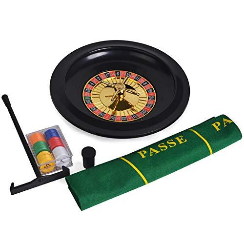 GYFHMY 10-Zoll-Roulette- und Blackjack-Set, Casino-Spieleabend, inklusive Mini-Poker-Layout, 60-teiligen Chips und Sammelharke, ideal für Home-Party-Freizeitspiele