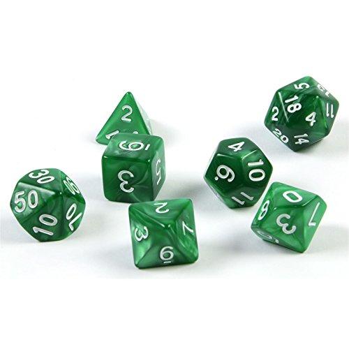 Würfel Rollen (shibby 7 polyedrische Würfel für Rollen- und Tabletopspiele in grün mit Beutel)