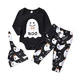 BBSMLIN Ropa Halloween Disfraz Ni/ña Bebe Monos Tops Falda Corta Calcetines Piernas de Lunares Diadema