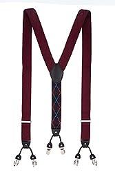 Diamond Tip Maroon Y Back Suspender For Men By The Tie Hub