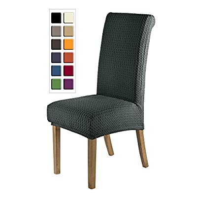 SCHEFFLER-HOME Jacquard Lea Chaircovers 2 pieces, Stretch Chair Cover, elastic modern Slipcover, Decor Lycra fabric Protective Cover with elastic band, universal nosefitting by spandex, elastic Span-Cover - low-cost UK light shop.