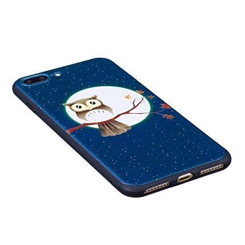 Cover iPhone 7 Plus, Custodia iPhone 7 Plus, Case in Silicone Nero Morbido TPU, Surakey Protettiva Bumper Back Cover Gomma Soft Sottile e Flessibile Custodia Gel Rubber Leggero Antiscivolo Antiurto Pr Piccolo Gufo