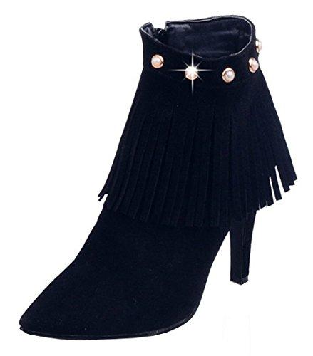 YE Damen Spitze High Heels Stiletto Stiefeletten mit Fransen Perlen  Reißverschluss Nubuck Short Ankle Boos Herbst dfda1278df