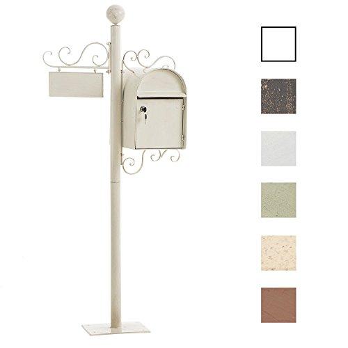 CLP Stand-Briefkasten Charlize I Antiker freistehender Briefkasten mit Namensschild I Briefkasten aus Eisen I In verschiedenen Farben erhältlich Antik Creme