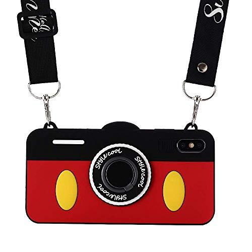 Shinymore Schutzhülle für iPhone XS Max mit Schlüsselband, 3D-süßes Weiches Silikon, Cartoon-Minnie Maus Kamera-Design mit Ringhalter für iPhone XS Max, for iPhone XS Max, Mickey Maus