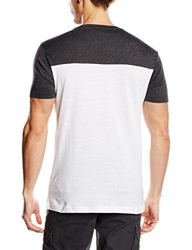 Urban Classics TB969 Herren Langarmshirt T-shirt 3-Tone Pocket Tee Wht/Char/Gry