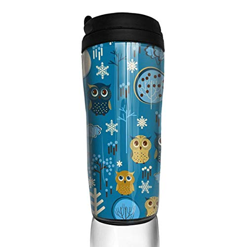 5a652dcd9 Travel Coffee Mug Cartoon Owl 12 Oz Spill Proof Flip Lid Water Bottle  Environmental Protection Material