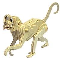 MMRM 3D Jigsaw Puzzle En Bois 12 Signes du Zodiaque Chinois Simulation Animale Casse-tête Modèle Jouet - Singe