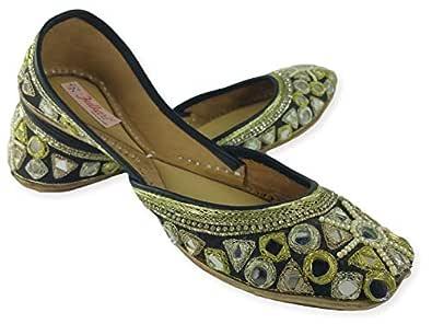Fulkari Women's Phulkari Multicolored Genuine Soft Leather Jutis | Bite and Pinch Free Jutis | Punjabi Formal Jutti Flat Ladies Mojari | Bridal Ethnic Flats |