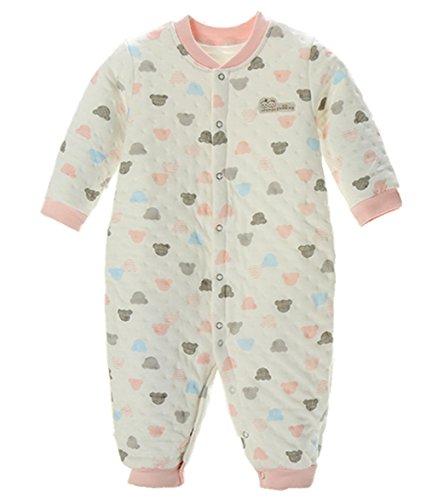Neugeborene Kleidung, Chickwin Unisex 100 % Reine Baumwolle Warme Herbst und Winter Säuglinge Mädchen Jungen Jumpsuit Baby Schlafanzug (66 cm (3-6 Monate), Rosa) (Snap Streifen Rosa)