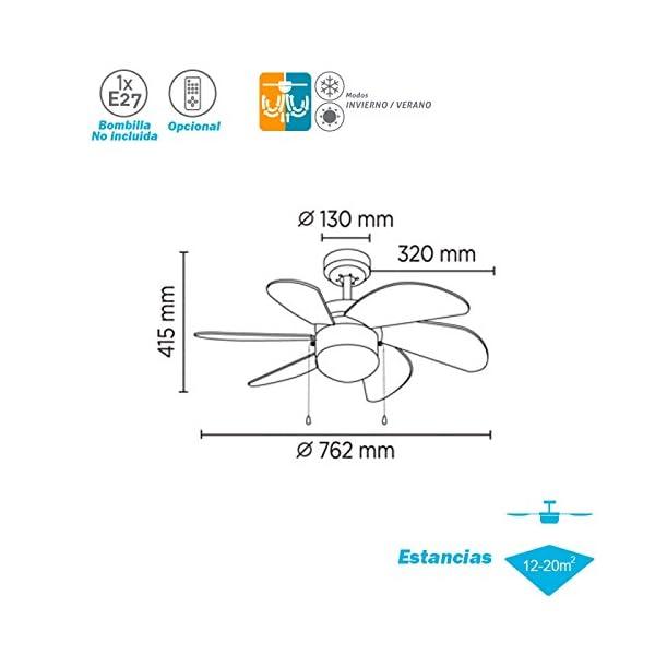 ELS Ventilador Techo Modelo Tabit Plata Motor AC 6 palas 1xE27