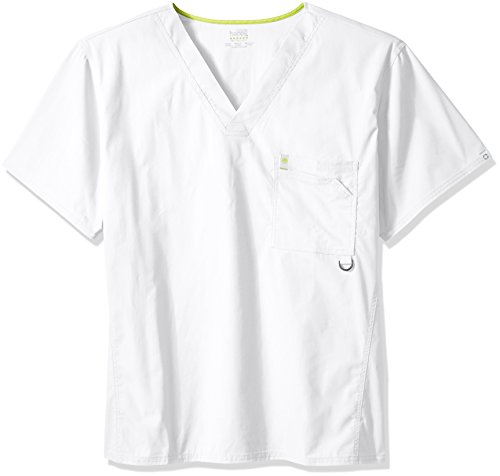 Tops Scrub 4x (Code Happy Men's Bliss With Certainty V-Neck Scrub Top Big and Tall, White, 4X-Large)