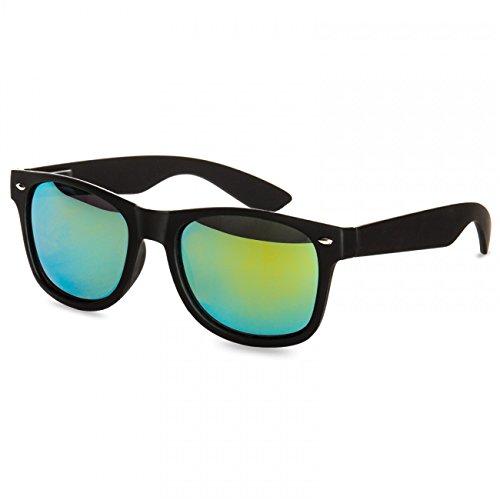 Caspar SG008 Unisex Retro Nerd Sonnenbrille, Farbe:schwarz/grün gold verspiegelt