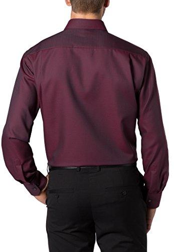 ETERNA Langarm Hemd COMFORT FIT Twill strukturiert Weinrot