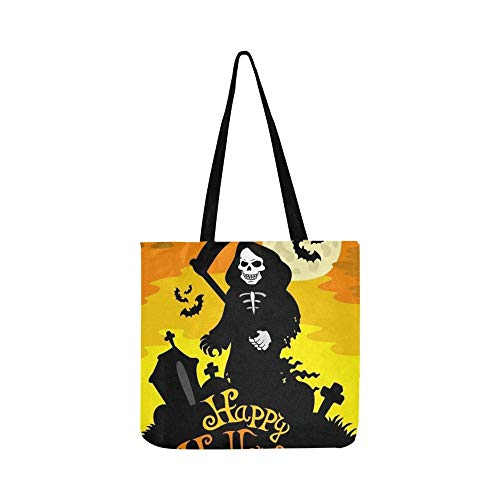 Halloween Thema Sensenmann Leinwand Tote Handtasche Schultertasche Crossbody Taschen Geldbörsen Für Männer Und Frauen Einkaufstasche