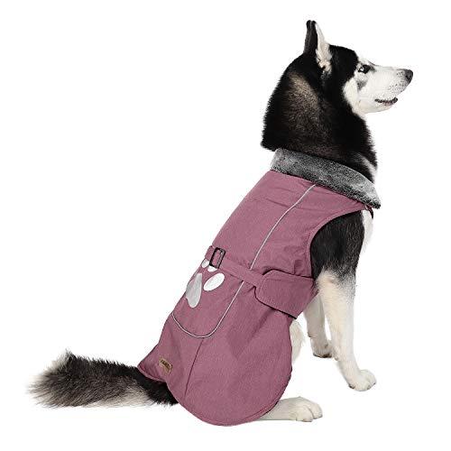 PAWZ Road Hund Jacke Haustier Kleidung Mantel Winter Herbst Warme Gemütliche Weste für Kleine Mittel Große Hunde Red 2XL (Große Hund Kleidung)