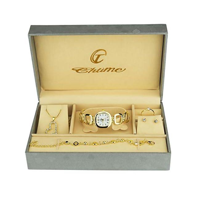 1c0e9b919311a Coffret Cadeau Montre Femme - Parure de Bijoux- Collier-Bague- Boucles  d'oreilles - Bracelet