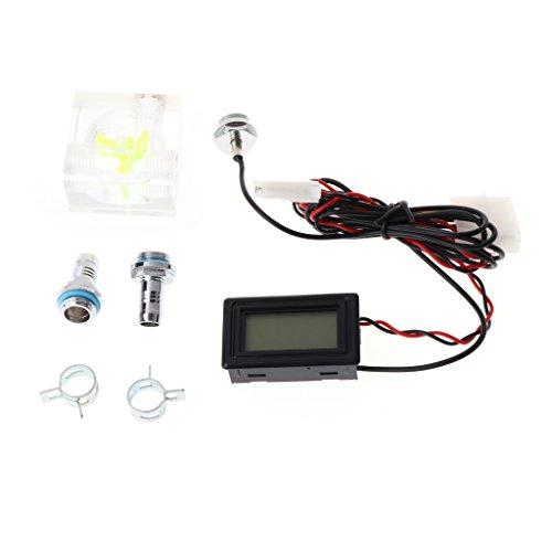 DAchun11 Wasser-Flüssigkeitskühlung 3-Wege Durchflussmesser mit Thermometer Blaue LED G1/4 Armatur