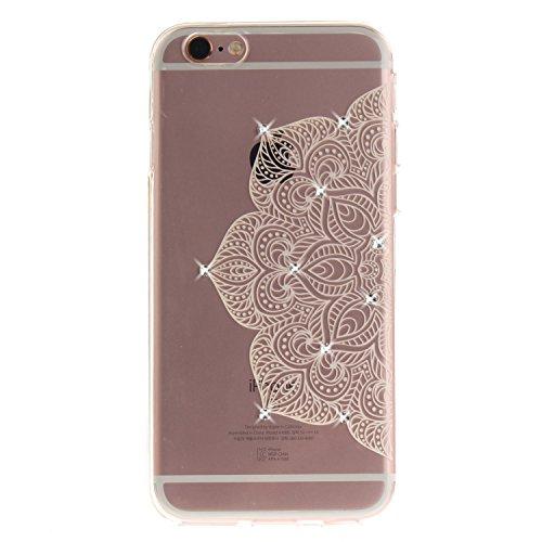 iPhone 6S Hülle, Voguecase Bling Silikon Schutzhülle / Case / Cover / Hülle / TPU + PC Gel Skin für Apple iPhone 6/6S 4.7(Diamant-Durchstochen 03/Schwarz) + Gratis Universal Eingabestift Diamant-Die Hälfte Blume