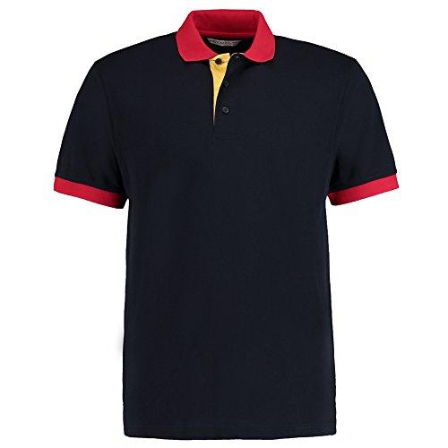 Kustom Kit Herren Modern Poloshirt Navy / Sun Yellow / Red