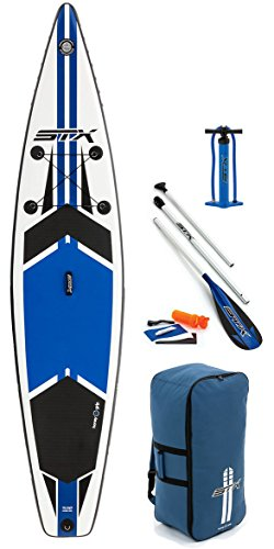 STX 2018 12'6 x 32 Race Inflatable Stand Up Paddle Board, Paddle, Pump & Bag Blue 70651