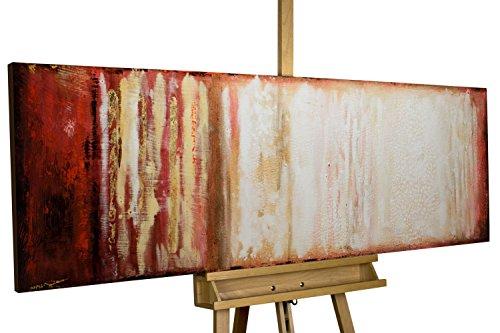 KunstLoft Acryl Gemälde 'Vagile Virtuosität' 150x50cm   original handgemalte Leinwand Bilder XXL   Abstrakt Rot Beige   Wandbild Acrylbild moderne Kunst einteilig mit Rahmen (Original Gemälde ',)