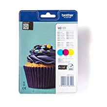 Brother LC-123C/LC-123M/LC-123Y Inkjet Cartridges, Cyan/Magenta/Yellow, Multi-Pack, High Yield, Includes 3 x Inkjet Cartridges, Brother Genuine Supplies
